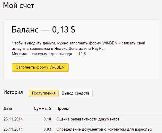Доход от Яндекс.Толока