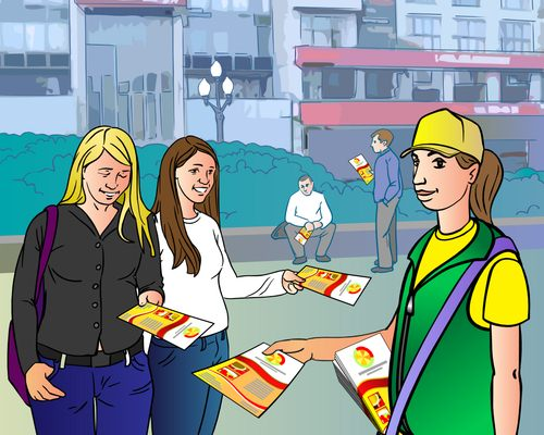 Раздавать флаеры на улице